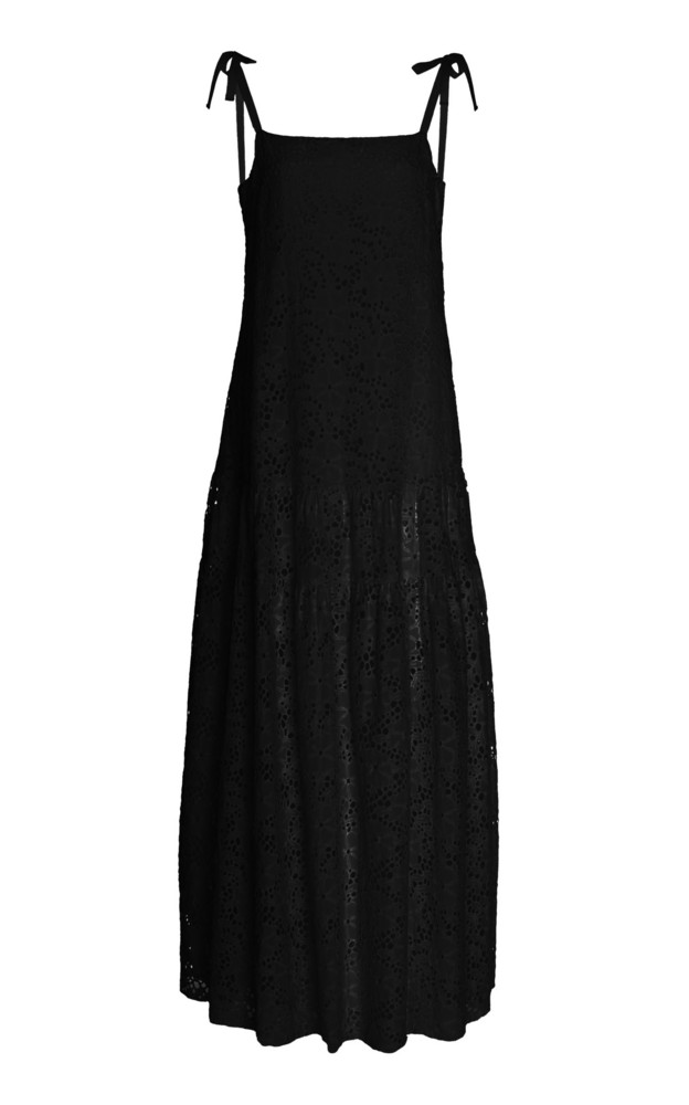Merlette Ordesa Eyelet Lace Maxi Dress in black