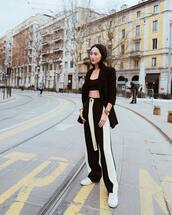 pants,high waisted pants,black and white,white sneakers,black blazer,black top,crop tops