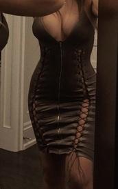 dress,leather dress,green dress