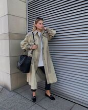 shoes,loafers,black pants,trench coat,black bag,white top