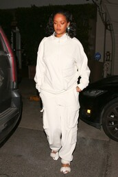 sweater,rihanna,riri by rihanna,streetstyle,streetwear,white,white top,pants,sandals,celebrity,all white everything