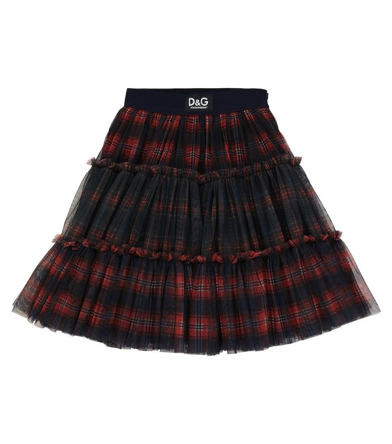 Dolce & Gabbana Kids Checked tulle skirt in blue