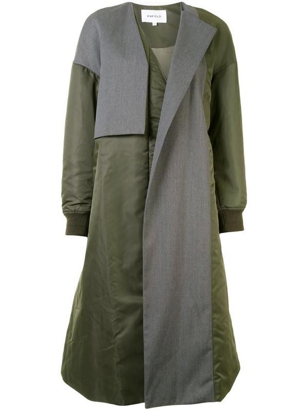 Enföld colour-block single-breasted coat in grey