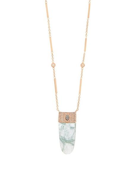 Jacquie Aiche - Sphere Spear Diamond, Aquamarine & Gold Necklace - Womens - Light Blue