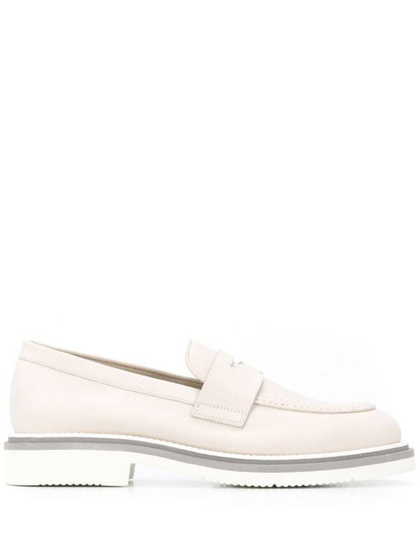 Santoni low-heel slip-on loafers in neutrals