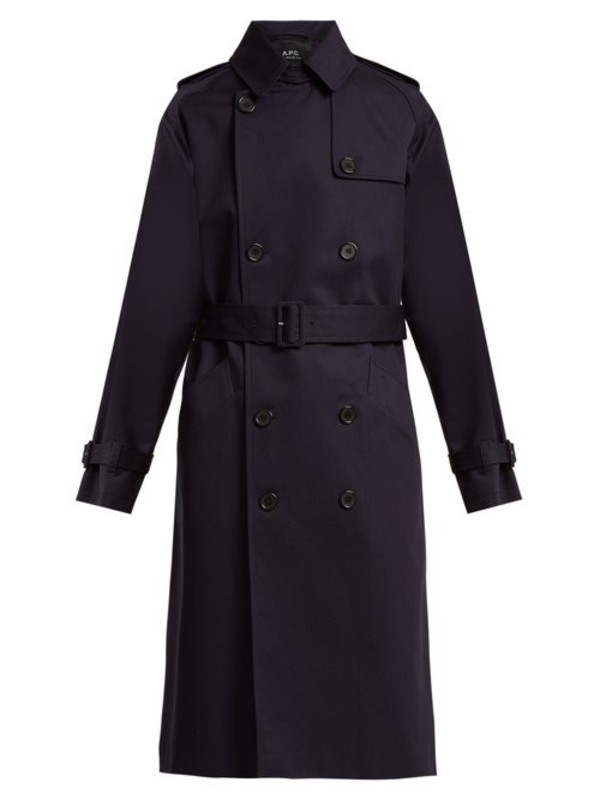 A.P.C. A.p.c. - Greta Double Breasted Cotton Trench Coat - Womens - Dark Navy