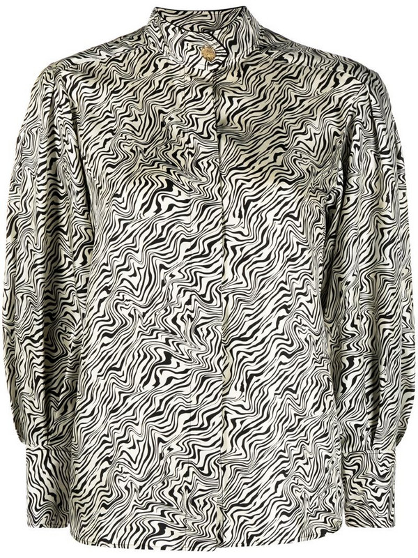 Sandro Paris abstract print silk top in black