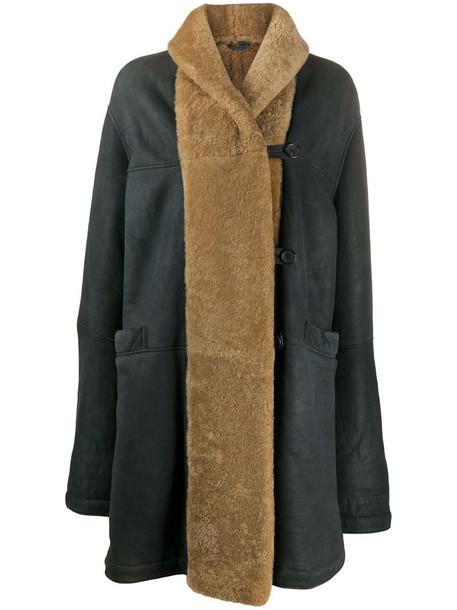 Romeo Gigli Pre-Owned 1990s shearling-trim coat in grey