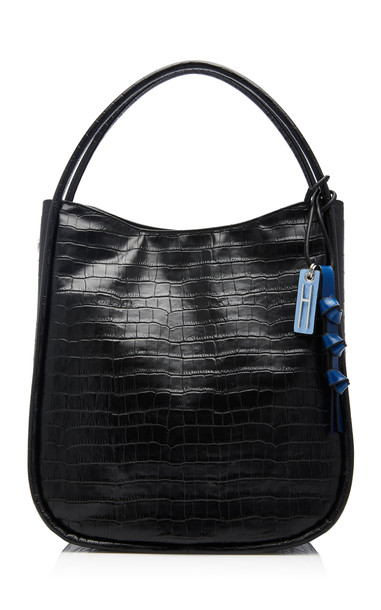 Hayward Infinity Tote in Croc-Effect Leather in black