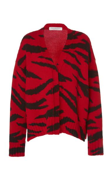 Philosophy di Lorenzo Serafini Zebra-Print Merino Wool Knit Cardigan in red