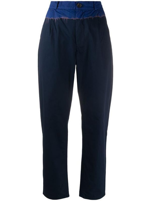 Suzusan contrast waist trousers in blue