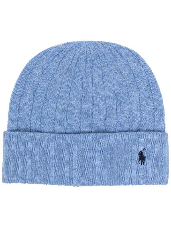 Polo Ralph Lauren embroidered logo beanie in blue