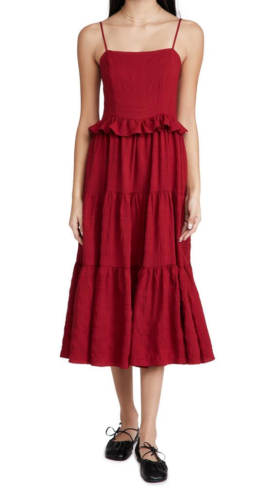 En Saison Tiered Midi Dress in red