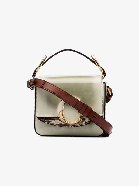 Chloé Chloé green and brown C bicolour toaster leather shoulder bag
