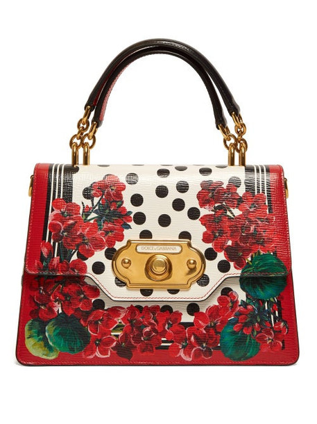 Dolce & Gabbana - Welcome Geranium Print Leather Bag - Womens - Red Multi