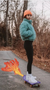 jacket,teal puffy jacket,cordoroy,emma chamberlain