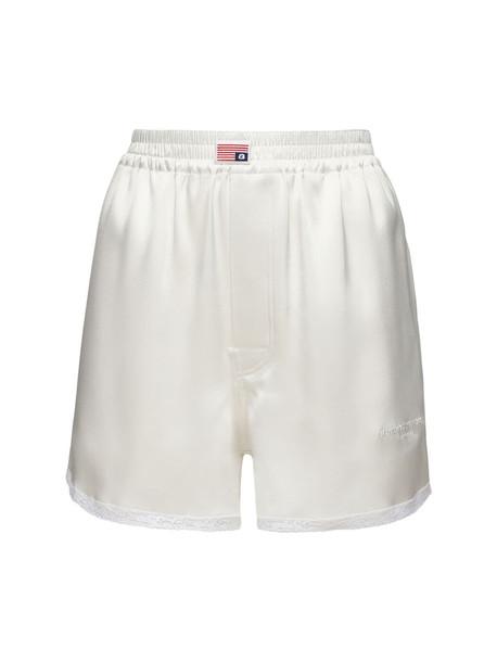 ALEXANDER WANG Satin Boxer Shorts in white