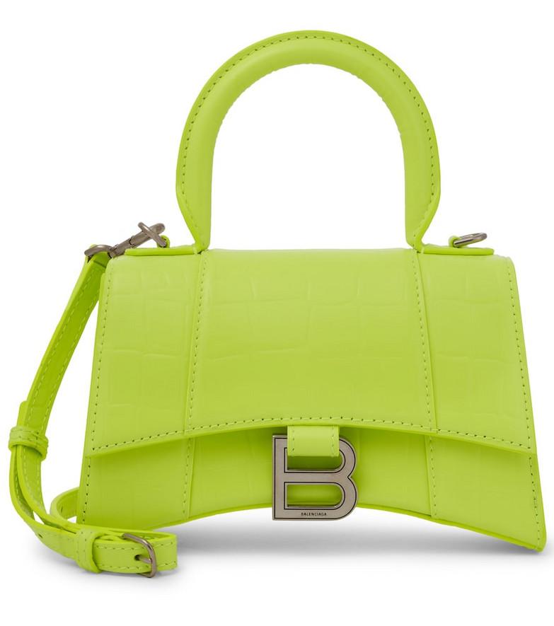 Balenciaga Hourglass XS croc-effect leather tote in green