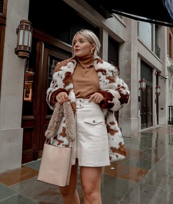 coat faux fur coat white skirt mini skirt bag turtleneck sweater