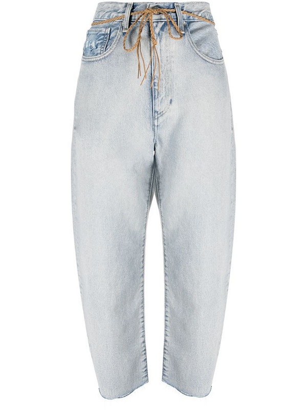 Levi's: Made & Crafted Barrel mid-rise cropped jeans in blue