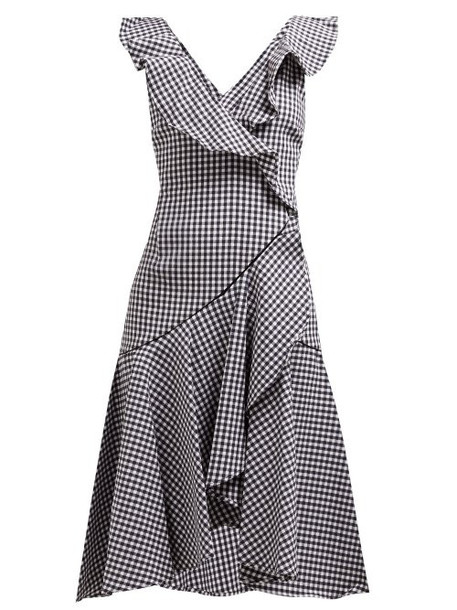 Jonathan Simkhai - Ruffled Gingham Cotton Blend Dress - Womens - Black White