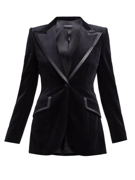 Dolce & Gabbana - Satin Trimmed Single Breasted Velvet Blazer - Womens - Black