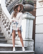 romper,long sleeves,polka dots,sneakers,converse,denim jacket,hat
