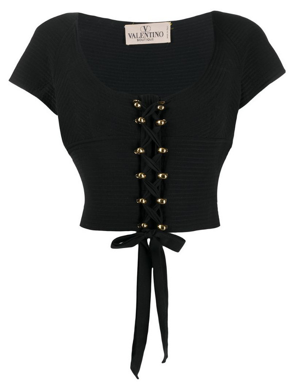 Valentino Pre-Owned 1970s quilted lace-up blouse in black