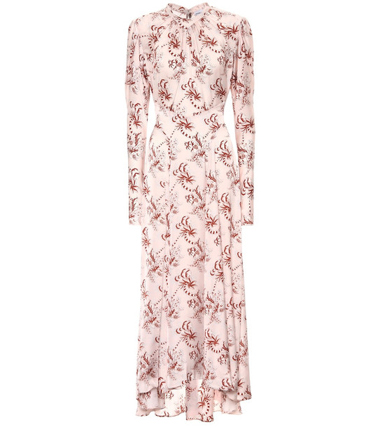 Paco Rabanne Floral satin dress in pink