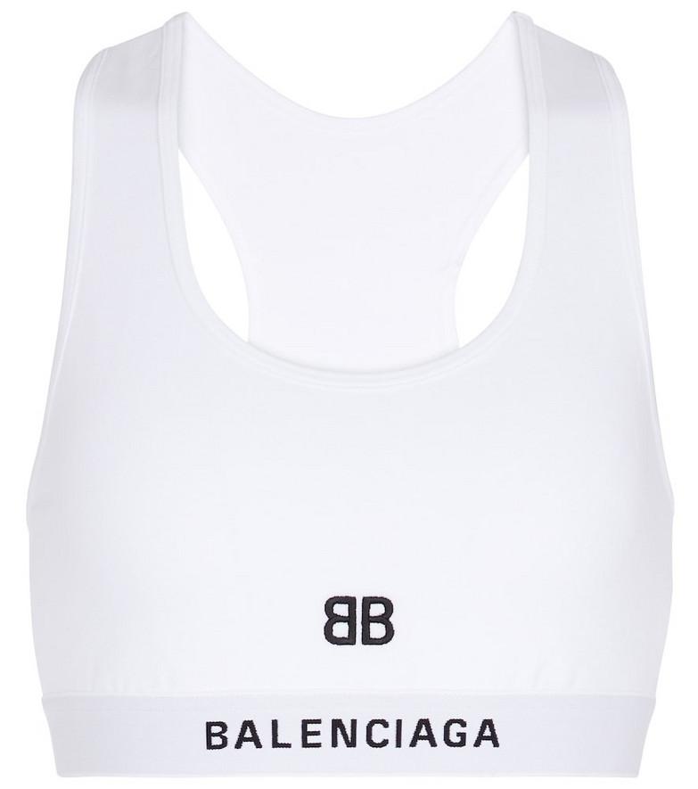 Balenciaga Cotton jersey sports bra in white