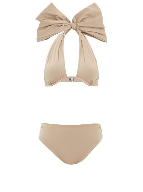 Fendi - Bow Halterneck Bikini - Womens - Beige