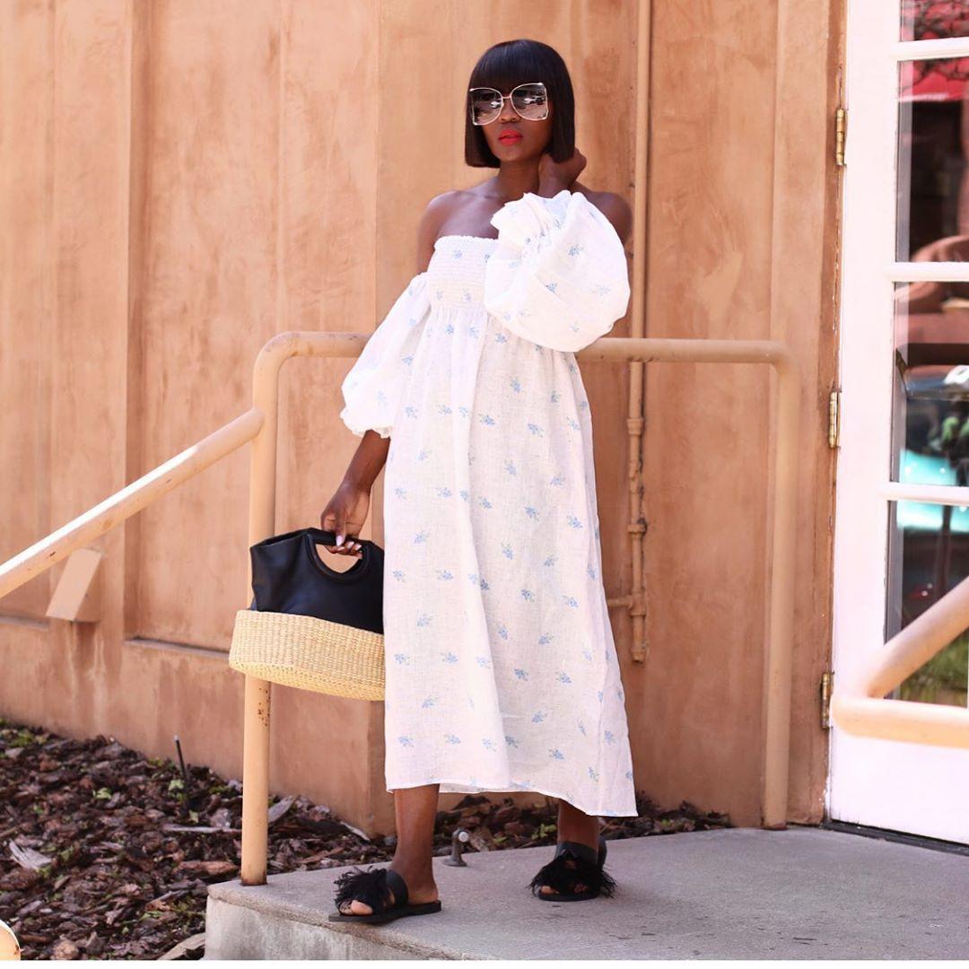 dress white dress midi dress off the shoulder dress slide shoes handbag