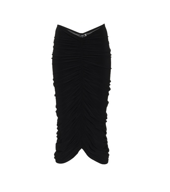 Norma Kamali Ruched stretch-jersey pencil skirt in black