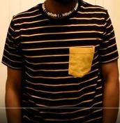top,stripes,black and yellow,black and yellow stripes,shirt pocket,yellow shirt pocket,bee,bee shirt,male shirt,mens shirt,youtuber,coryxkenshin,anime,t-shirt,mens t-shirt