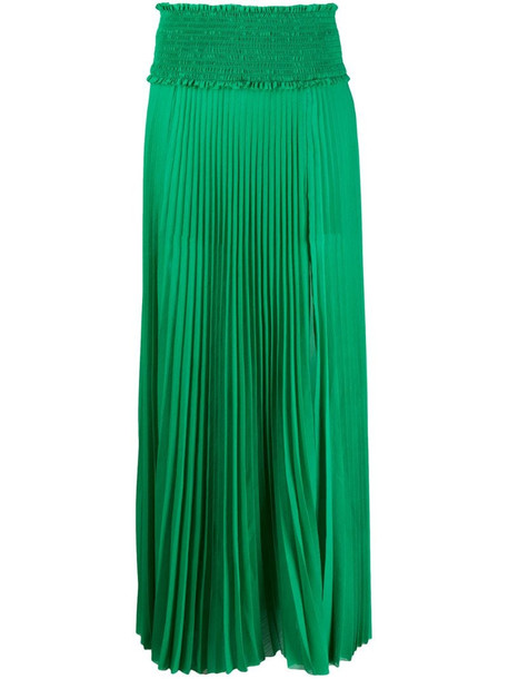 Balmain smock-waist pleated skirt in green