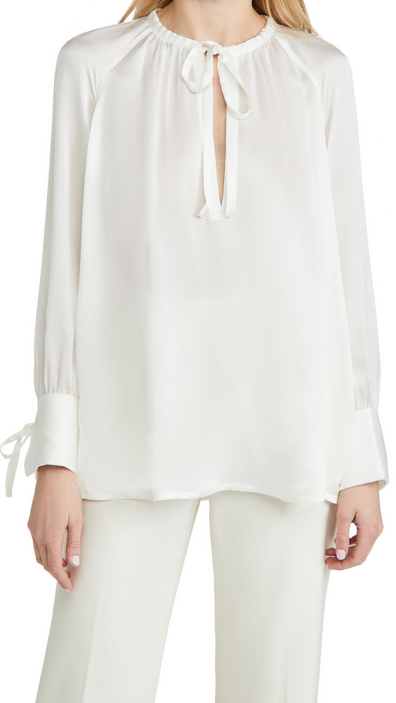 Club Monaco Shirred Tie Detail Blouse in white