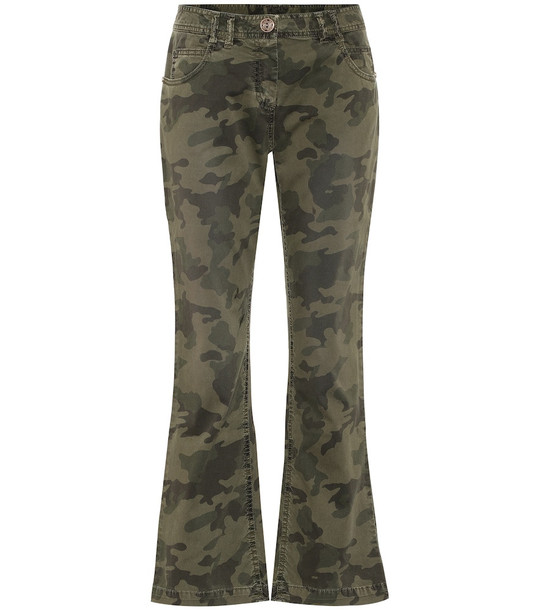 Balmain Camouflage mid-rise flared jeans in green