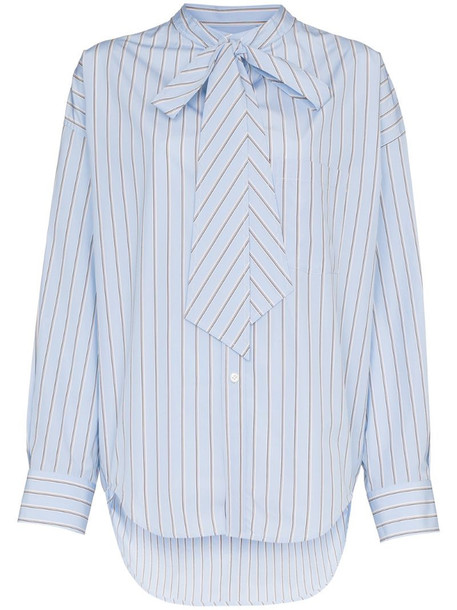 Balenciaga Striped Oversized Logo Shirt in blue