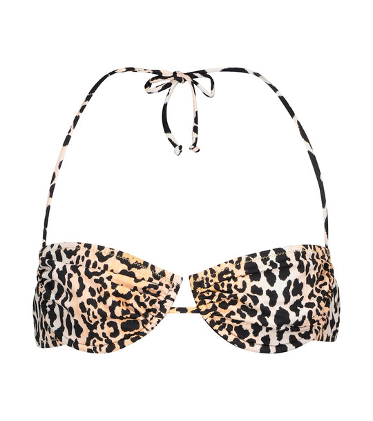 Reina Olga Penny leopard-print bikini top in beige