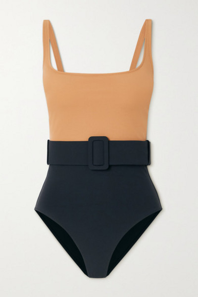 Evarae - Net Sustain Cassandra Belted Two-tone Stretch-econyl Swimsuit in sand