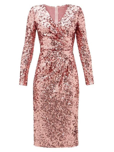 Dolce & Gabbana - Padded-shoulder V-neck Sequinned Dress - Womens - Pink