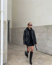 jacket,black leather jacket,knee high boots,black boots,hoodie,black bag