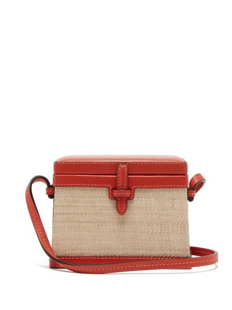 Hunting Season - Square Trunk Mini Raffia Cross Body Bag - Womens - Red Multi