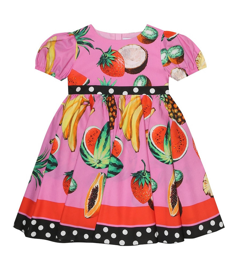 Dolce & Gabbana Kids Baby printed cotton dress and bloomers set in pink