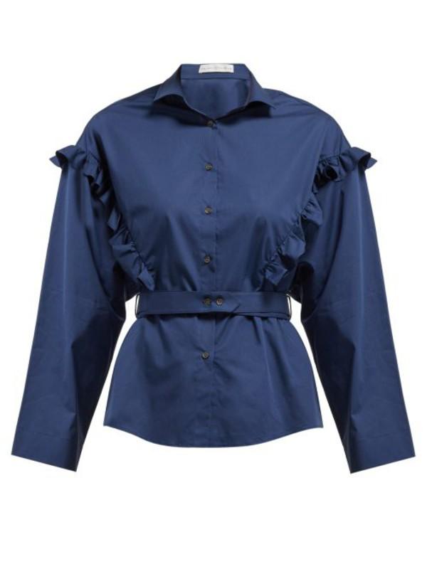 Palmer/harding Palmer//harding - Trap Ruffled Cotton Blend Poplin Shirt - Womens - Navy