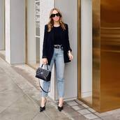 jeans,cropped jeans,high waisted jeans,skinny jeans,pumps,balenciaga,black bag,chanel,black blazer,black belt,black top