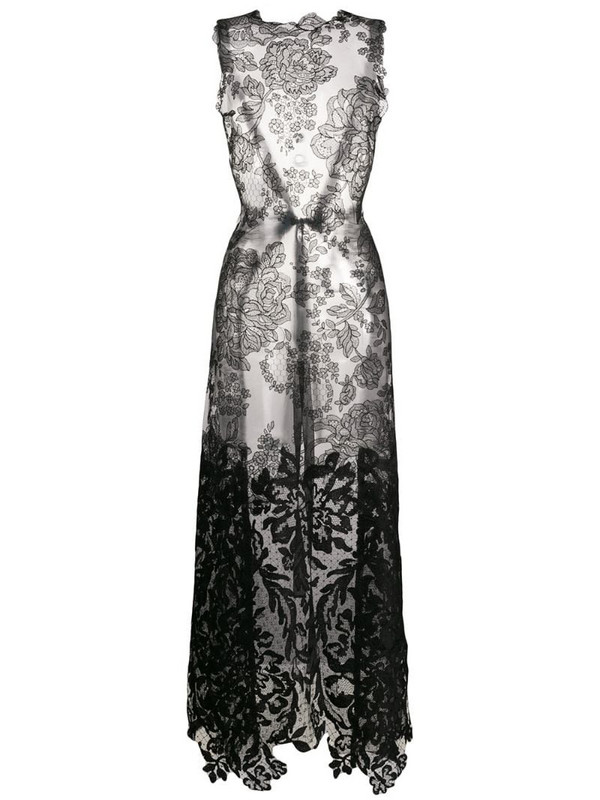 Vera Wang long lace blouse in black