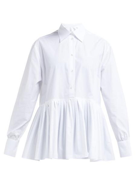Valentino - Pleated Hem Cotton Blend Poplin Shirt - Womens - White