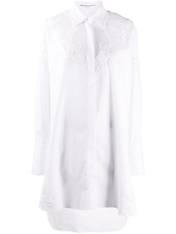 Ermanno Scervino lace-panel shirt dress in white