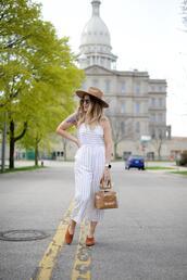 blonde bedhead,blogger,jumpsuit,hat,bag